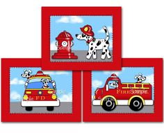 Set of 3 Firetruck Puppy Boys Bedroom