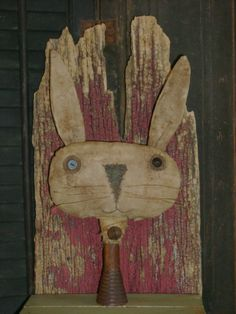 Primitive Wide Grungy Bunny Rabbit Make Do ~Wooden Spool ~ Ro's Cluttered Attic #NaivePrimitive