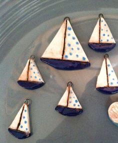 Ceramic Sailboat Charms and Pendant on Etsy, $8.00