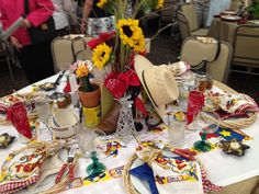 table and party decoration ideas, deep in the heart of Texas, BBQ Centerpieces, Table Decorations, Texas Decorations, Texas Party, Texas Bbq, 50th Party, Bbq Party, Party Themes, Party Ideas