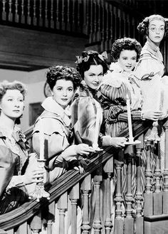 Greer Garson, Ann Rutherford, Maureen O'Sullivan, Heather Angel and Marsha Hunt as the Bennet sisters in Pride and Prejudice (1940)