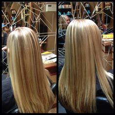 Light Natural level 7 with large foiling sections for highlights to add significant dimension, neutral level 7.5 lowlights to correct old brassy faded lowlights, level 10 violet overlay to balance gold tones for a softer, more natural shade of blond