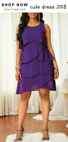 Round Neck Solid Purple Flounce Dress   #liligal #dresses #womenswear #womensfashion Simple Dresses, Cheap Dresses, Elegant Dresses, Sexy Dresses, Dress Outfits, Evening Dresses, Casual Dresses, Fashion Dresses, Girls Dresses