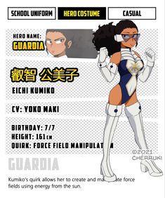 My Hero Academia Costume, My Hero Academia Episodes, My Hero Academia Memes, Hero Academia Characters, My Hero Academia Manga, Black Anime Characters, Superhero Characters, Girls Characters, Black Girl Cartoon