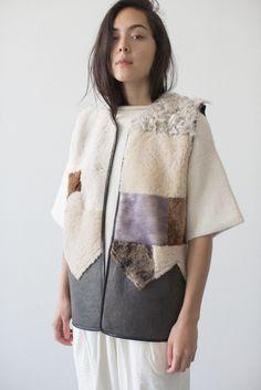 Milena Silvano Lilakoi Patchwork Vest. Handmade from repurposed sheepskin.