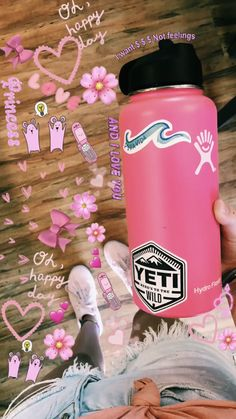 Water Bottle Art, Cute Water Bottles, Tumblr Wallpaper, Wallpaper Quotes, Summer Aesthetic, Pink Aesthetic, Snapchat, Hydro Flask Water Bottle, Vsco Pictures