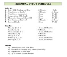 Personal Study Schedule