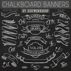 Chalkboard Clipart by DigiWorkshop  #etsy #digiworkshop #scrapbooking# #printables #crafting #illustration #creative #artwork #scrapbook #clipart #banners #wedding #bridal #ribbons #chalkboard #chalk #blackboard