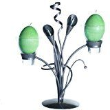 Metal & 2 Glass Candle Holders, Elegant & Unusual LILIAN PEWTER with 2 Free Egg Candles (silver).