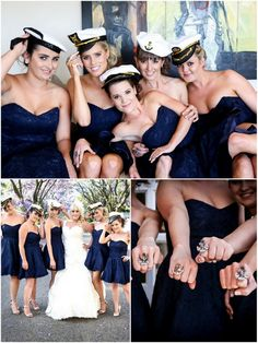 Love these captain's hats and anchor rings.  Cute for pictures and great for bridesmaid gifts.  Bradenton Weddings: Have your wedding at the Manatee Riverhouse! Sailor Hats, Sailor Theme, Anchor Wedding, Sailor Wedding, Blue Wedding, Wedding Colours, Nautical Wedding Dresses, Reception Entrance, Anchor Rings