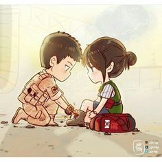 descendants of the sun fanart Desendents Of The Sun, Descendants Of The Sun Wallpaper, Cute Couple Art, Drama Memes, Couple Illustration, Japanese Drama, Moon Lovers, Korean Art, Fan Art
