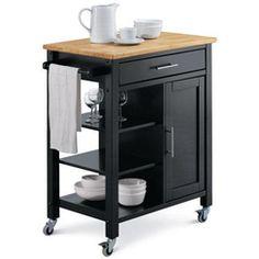 Beistellwagen Black negro metal madera estantería para mesa auxiliar carro carro de cocina