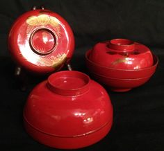 Japanese Antique Lacquered Wood Set of Five Bowls w/ Gold 蒔絵 Makie from manyfacesofjapan on Ruby Lane