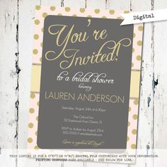 Pink and Gold bridal shower Invitation modern by JoyPribishDesigns, $15.00