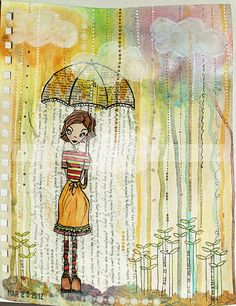cute way to journal the words making it look like rain.  I love this page!