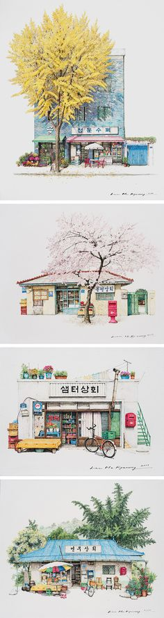 two decades of south korean corner store illustrations by me kyeoung lee is part of Korean illustration - Two Decades of South Korean Corner Store Illustrations by Me Kyeoung Lee Watercolorart Illustration Art And Illustration, Korean Illustration, Watercolor Illustration, Art Illustrations, Korean Art, Asian Art, Korean Anime, Colossal Art, Painting & Drawing