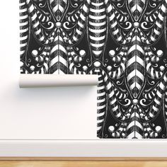 Removable Wallpaper 12ft x 2ft - Black And White Black White Goth Circus Dark Custom Pre-pasted Wallpaper by Spoonflower