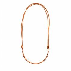 """LEATHER CHARGER NECKLACE-COPPER by JULIA SZENDREI Adjustable 15-30"""" total length and gets shorter with leather slide knots. Wears long or short making for the ultimate everyday wear. Copper piece pendant, long contemporary necklace. Shop now www.juliaszendrei.com"""