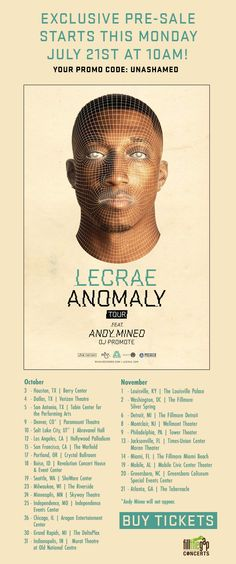 Lecrae tour. Can't wait for October 25!!!!