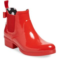 kate spade new york shoes Women's Telly Bow Rain Boot - Red, Size 6 ($70) ❤ liked on Polyvore featuring shoes, boots, red, wellies rubber boots, wellies boots, red rain boots, bow boots and rain boots