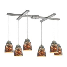 ELK Lighting 10460/6CS Abstractions Collection Satin Nickel Finish