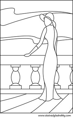 Lady outline stained glass pattern - I wonder if I could use black auto pinstripe and glass paint? Stained Glass Quilt, Faux Stained Glass, Stained Glass Designs, Stained Glass Projects, Stained Glass Patterns, Mosaic Patterns, Stained Glass Windows, Applique Patterns, Applique Designs
