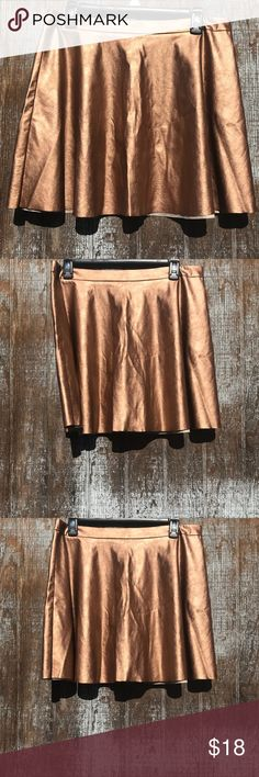 Lush faux leather  rose gold  skater skirt Lrg Lush faux leather rose gold skater skirt Nwot Lush Skirts
