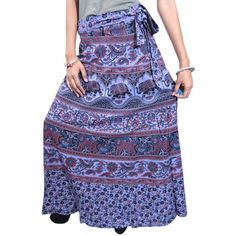 Womans Skirts- Gypsy Purple Printed Cotton Wrap Around Skirt Beach... (1,675 INR) via Polyvore featuring skirts, gypsy skirt, purple skirt, cotton gypsy skirt, wraparound skirt and cotton skirt
