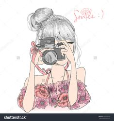 Hand Drawn Beautiful Cute Girl In A Floral Dress With Camera In His Hands…