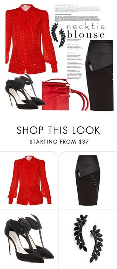 """""""Neck Tie Trend"""" by clotheshawg ❤ liked on Polyvore featuring Yves Saint Laurent, River Island, Olgana and Cristabelle"""