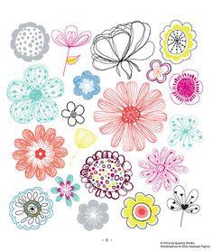 Flowers! Copyright © Rachael Taylor  #20waysdoodle http://www.rachaeltaylordesigns.co.uk/shop/paper/books/20-ways-to-draw-a-doodle-book#.U7Zxkv15mao