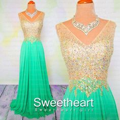Sweetheart Girl | Green A-line V neckline Chiffon Long Prom Dresses, Evening Dresses | Online Store Powered by Storenvy