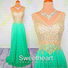 V neckline Chiffon Long Prom Dresses #prom #dress #promdress #dresses #evening #formal