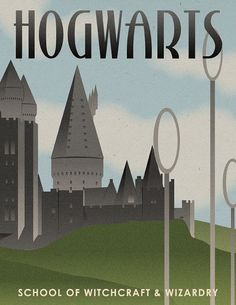 Vintage art deco Hogwarts Travel Poster