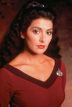 deanna troi red starfleet uniform closeup