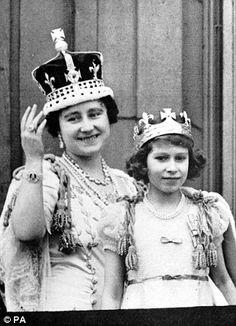 Queen Elizabeth with her daughter, the future Elizabeth II.