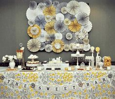 Items similar to Romantic Yellow & Gray Vintage Wedding Ka-Lollie Paper Rosette Backdrop for Dessert Table / Shower/ Nursery (Featured on HWTM) on Etsy Decor Photobooth, Vintage Wedding Backdrop, Wedding Backdrops, Romantic Desserts, Romantic Table, Paper Rosettes, Paper Pinwheels, Paper Flowers, Paper Doilies