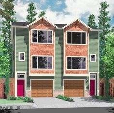 2f43f286016e58ce8489f60bf4239ae3 duplex house design duplex house plans house front color elevation view for d 599 duplex house plans, 2,Duplex House Plans With Garage