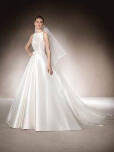 Elegant Long A-line St. Patrick MADELAINE Dress with Illusion Lace Back and Belt Embellishment