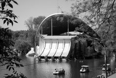 Soviet Architecture - Summer theater in the park of Dnepropetrovsk, Ukraine. The building resembling a shell was built in 1978 right in the pond, it became the ma...