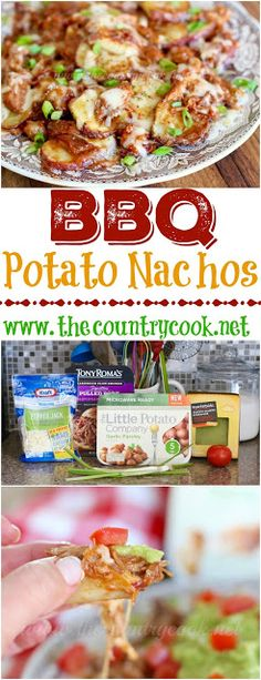 BBQ Potato Nachos recipe from The Country Cook. Sliced potatoes that are roasted, covered with pork bbq and topped with gooey, melted cheese. A-MAZING! We ate this entire plateful in minutes - it was THAT good!