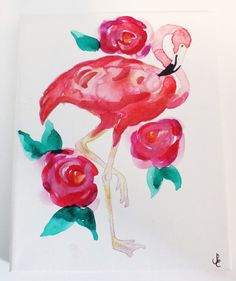 Pink flamingo and roses - Original, hand-painted watercolor on canvas by Violet Knight Designs.