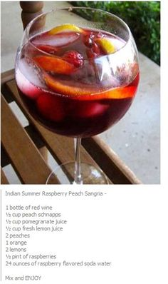 Indian Summer Raspberry Peach Sangria recipie