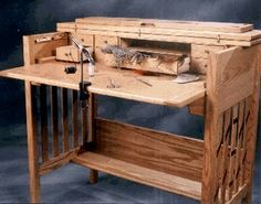 Custom Designed Oak and Bloodwood Fly Tying Desk - Fishing - Fly Tying Desk, Fly Tying Vises, Fly Tying Tools, Fly Tying Materials, Fishing Rod Storage, Fishing For Beginners, Desk Plans, Bench Plans, Fly Tying Patterns