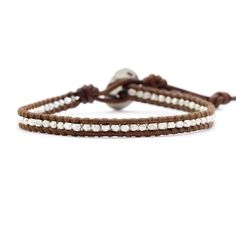 Chan Luu Sterling Silver Single Wrap Natural Brown Leather Bracelet -- Read more reviews of the product by visiting the link on the image.-It is an affiliate link to Amazon. #Bracelet