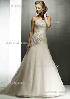 A-Line Sweetheart Chapel Satin Tulle Bridal Dresses