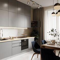 Kitchen Dinning Room, Kitchen Room Design, Dining Room Design, Modern Kitchen Renovation, Small Apartments, Kitchen Cabinets, Woman Style, Interior Design, Kitchens