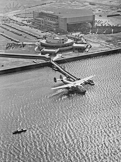 A Pan Am flying boat at the New York City Marine Air Terminal circa the 1940′s: