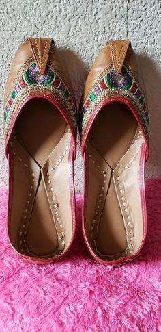 0b23de60562 Women pure leather jutti mojari sandal punjabi shoe handmade slippers US  size 8  fashion