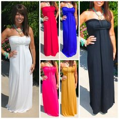 STRAPLESS MAXI DRESS SOLID COLOR GODDESS FLATTER FIT BOUTQUE QUALITY  XS - L  #WeekendinVegas #Maxi